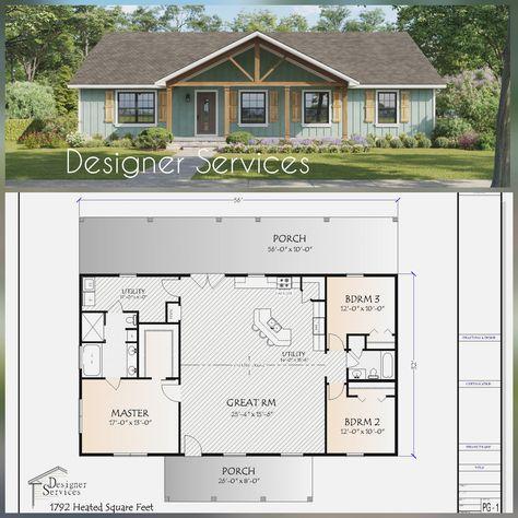 Pole Barn House Plans, Pole Barn Homes, New House Plans, Small House Plans, Simple Ranch House Plans, Ranch Floor Plans, Barn Homes Floor Plans, Retirement House Plans, Small Farmhouse Plans