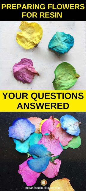 If you've got flowers you want to put in resin, read these FAQs first! This article gives you the answers to the most commonly asked questions about embedding flowers in resin, like Can you put fresh flowers in resin, How to dry them and How to seal them. There are links to more in depth information too. #MillLaneStudio #dryingflowers #flowersinresin #preservingflowers #whattodowithweddingbouquet #driedflowerFAQs