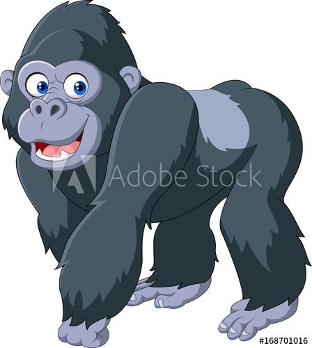 Cartoon Silver Back Gorilla In 2021 Baby Animal Drawings Animal Coloring Pages Cartoon Clip Art