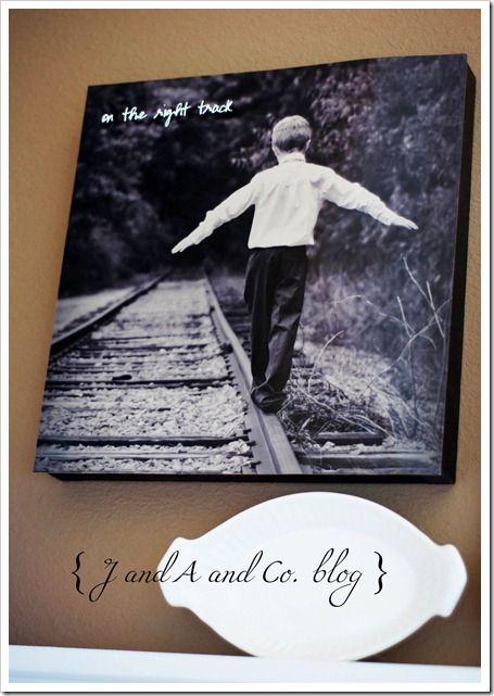 """Great idea... Picture of son on train tracks that says """"On the right track"""" ....to symbolize child's baptism. Love it!"""