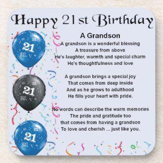 Grandson Poem Happy Birthday Coaster Zazzle Com In 2021 21st Birthday Quotes Happy Birthday Son Happy 21st Birthday Quotes