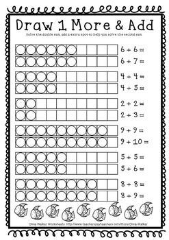 Double Plus One Near Doubles Grade One Math Strategy Printables Math Strategies First Grade Math Worksheets First Grade Math