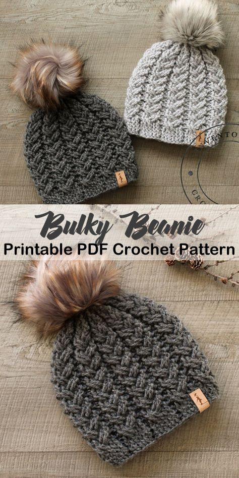 Make a cozy hat. bulky hat crochet patterns- winter hat crochet pattern- amorecraftylife.com #crochet #crochetpattern #diy #ad
