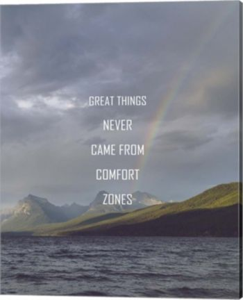 Great Things Never Came From Comfort Zones Strength - Rainbow By Color Me Happy Canvas Art - Multi