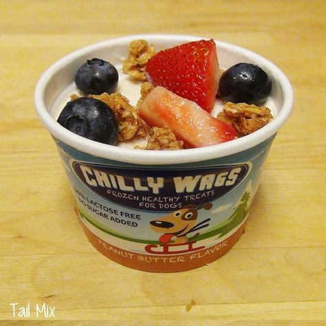 Help your doggie gear up for a day of fun, or cool her down with Peanut Butter or Vanilla Chilly Wags, topped with a bit of granola, fresh blueberries, and strawberries.