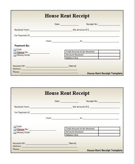 House-Rent-Receipt-Template wordstemplates Pinterest Receipt - cash receipt voucher word format