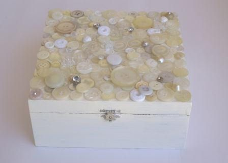 Decorated cigar box. Box covered with buttons in shades of white and cream. Keepsake box for bride to be.. $25.00, via Etsy.