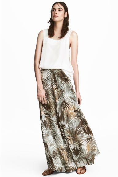 Dluga Spodnica We Wzory Naturalna Biel Lisc Ona H M Pl Printed Maxi Skirts Long Skirts For Women Maxi Skirt