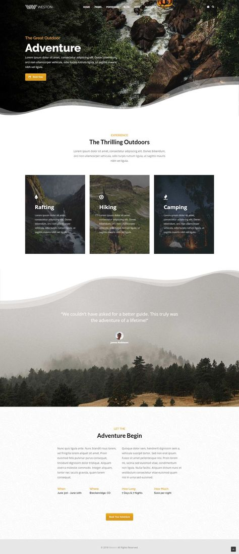 Outdoor Adventure Business Booking Modern WordPress Theme - Wordpress Ecommerce Theme #ecommercetheme #wordpresstheme -  Outdoor Adventure Business Booking Modern WordPress Theme. Uneven section edges. Creative homepage layout web design inspiration. Travel company website template WordPress. Landing page ideas. #webdesign #wordpress #wordpressthemes