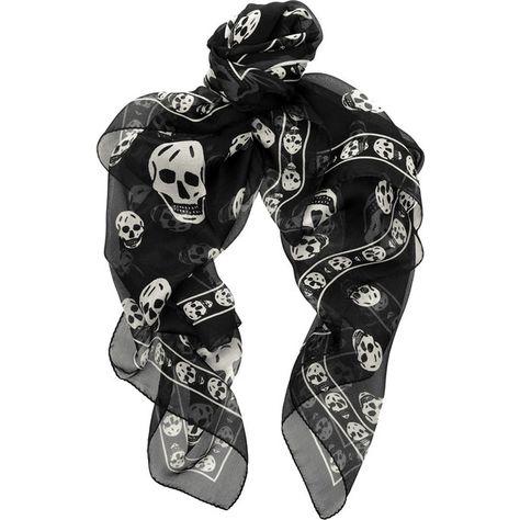 Alexander McQueen Skull-print silk-chiffon scarf ($295) ❤ liked on Polyvore