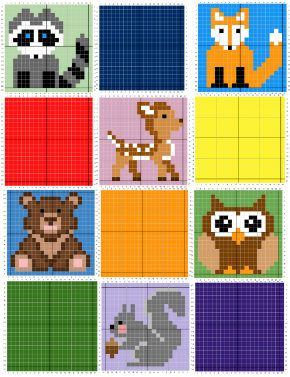 8 Forest Animals C2C GRAPH Only PATTERN, 9 Patterns each 21 squares