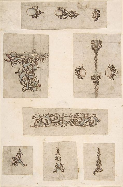 Sheet of Jewelry Designs  Anonymous  (Italian, 17th century (?))