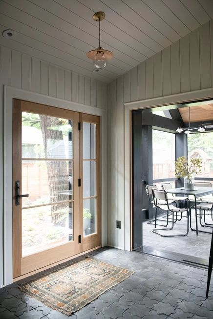 Entry Tile And With Vertical Shiplap Walls Entry Interiordesign