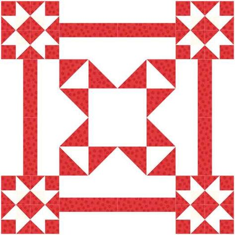 The ribbon square quilt is made from two different star blocks. The fabric contrast doesn't show up well so computer images are included for clarity