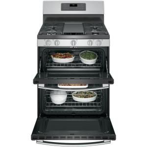 Ge 6 8 Cu Ft Double Oven Gas Range With Self Cleaning And