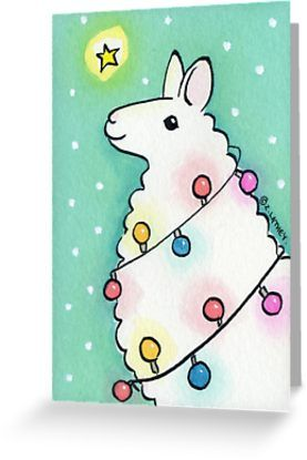 Festive Llama With Christmas Lights Greeting Card By Zoel In 2021 Easy Christmas Drawings Christmas Drawing Christmas Watercolor
