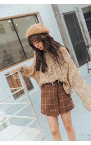 Thickened Woolen Plaid Retro Skirt