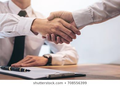 Real Estate Broker Agent And Customer Shaking Hands After Signing Contract Documents For Realty Purchase Bank Employe Same Day Loans Payday Loans Loan Company
