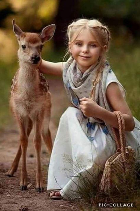 Beautiful girl with baby deer #cute #love #child #pet #animal #cutephoto