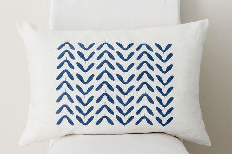 Kissen Kissen Leinen Handbedruckt Blau Weiss Ein