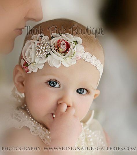Headband, flower headband, baby headband, shabby chic roses headband - petti lace romper All sizes many colors. $9.95, via Etsy.
