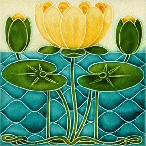 Image Result For English Tile Collection Pilkington Water Lily Art Deco Tiles Art Nouveau Tiles Art Nouveau