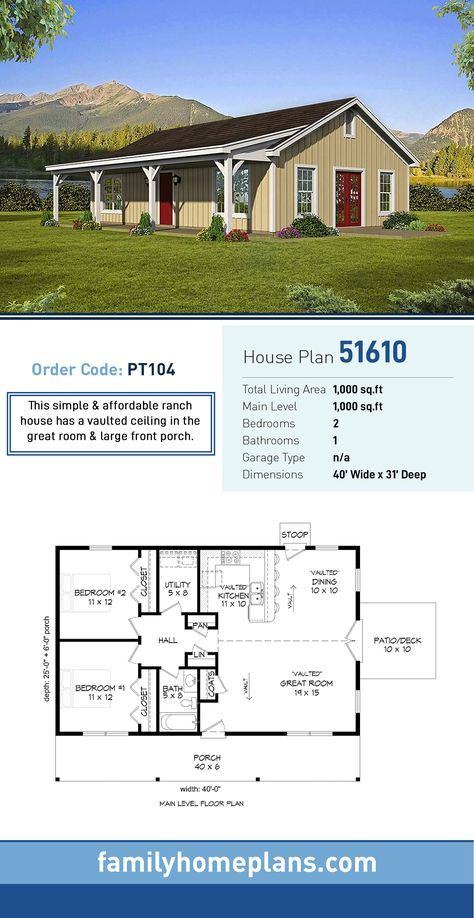 Ranch Style House Plan 51610 With 2 Bed 1 Bath Ranch Style House Plans Barn House Plans New House Plans