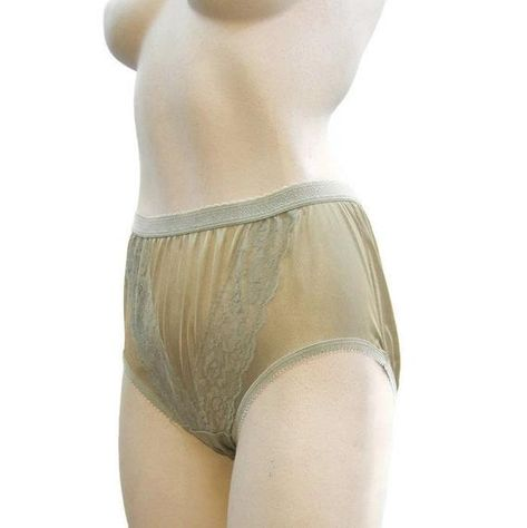 a61432253 Vintage Panties Nylon Full Cut Double Nylon Green Granny Panty High waist S