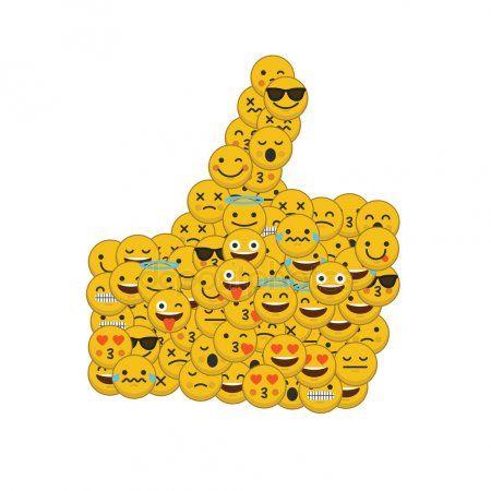 set von emoji emoticon charaktergesichtern in daumen hoch form stockbild illustration wohnmobil vektor emf vektorgrafik