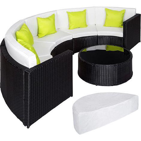 Salon De Jardin Coliseum 1 Canape 1 Table En Resine Tressee Et En Aluminium 5 Oreillers 1 Housse De Protection Noir Tectake Rattan Garden Furniture Rattan