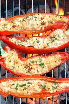 Gegrillte Paprika mit Schafskäse und Rosmarin