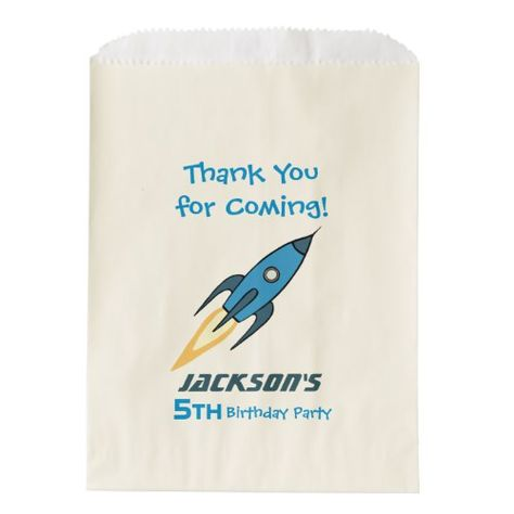 Blue Retro Rocket Ship Personalized Birthday Boy Favor Bag | Zazzle.com