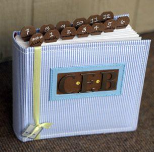 Boy Photo Album Baby Picture Scrapbook Brown Blue Stripe 4x6 5x7 8x10 Pictures Personalized Birthday Gift Custom Family Keepsake