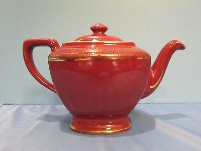 Antique china Hall pottery teapot with gold 6 cup size