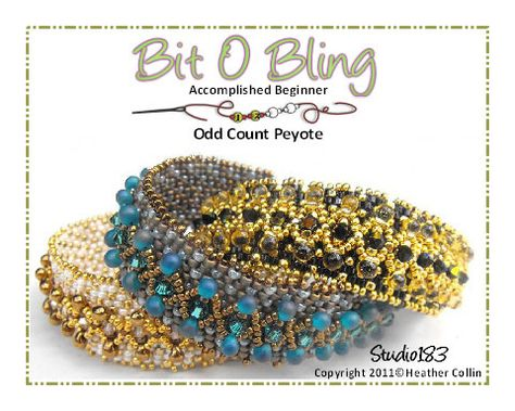 Tutorial for sale at etsy by Heather Collins. The Picot beaded edges are worked on at the same time as you bead the Peyote Cuff. Small Drop beads across the top add texture and sparkle to this firm little Odd Count Peyote Cuff. They bead up so quickly that you will be selecting more beads to make another one or two......  Techniques: Odd Count Peyote Stitch  Level: Intermediate- Knowledge of Peyote required.   Material requirements: 11o  15o seed beads, 3mm crystals and small drops (magatama's)