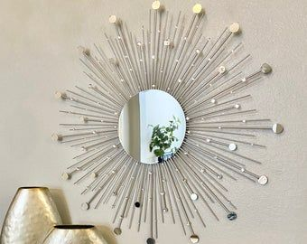Handmade Silver Sunburst Mirror Wall Feature Etsy In 2020 Sunburst Mirror Wall Gold Sunburst Mirror Sunburst Mirror