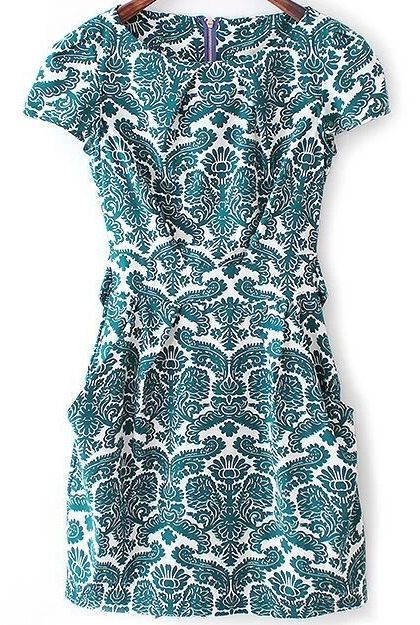 In a sweet, camo-inspired floral print, this green slim dress features slightly billowy peasant-style short sleeves, a self-tie sash at the waist, and side pockets hitting right on the slips are gracefully utilitarian. Only $20.79