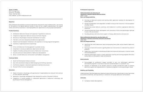 Behavior Analyst Sample Resume behavioral specialist consultant