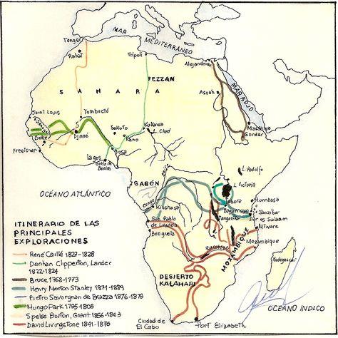 Itinerario De Las Principales Exploraciones En Africa Exploradores