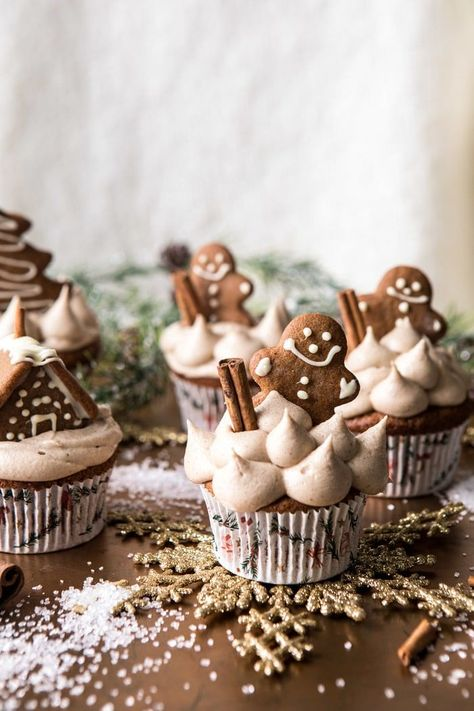 Gingerbread Cupcakes with Cinnamon Browned Butter Buttercream. - Half Baked Harvest - Gingerbread Cupcakes with Cinnamon Browned Butter Buttercream - Christmas Sweets, Noel Christmas, Christmas Cooking, Christmas Goodies, Christmas Gingerbread, Christmas Parties, Christmas Decor, Christmas Kitchen, Disneyland Christmas