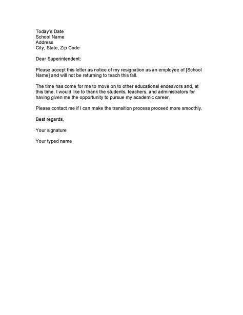 Short And Simple Resignation Letter Example  Resignation Letter