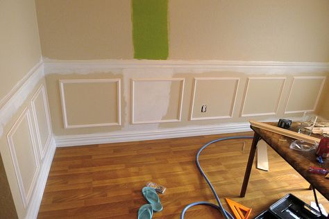 DIY Wainscoating! This has the best step by step directions that i have found so far. It also has some really good tips on how to space everything out