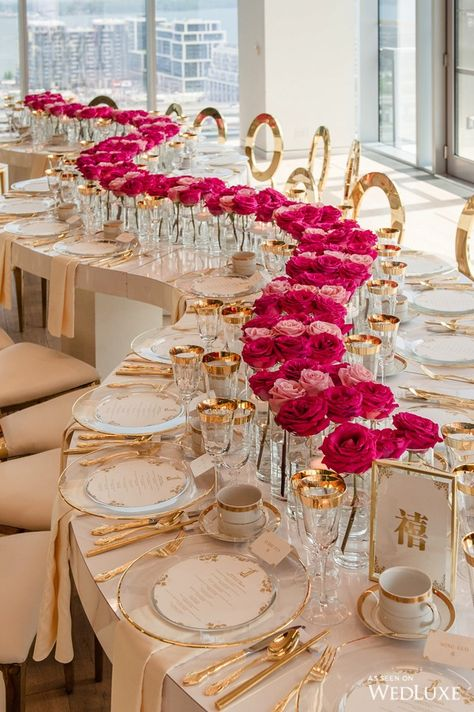 Trendy Wedding Centerpieces Gold And Pink Reception Ideas Wedding Events, Our Wedding, Destination Wedding, Dream Wedding, Tent Wedding, Wedding Goals, Luxury Wedding, Wedding Table Decorations, Wedding Centerpieces