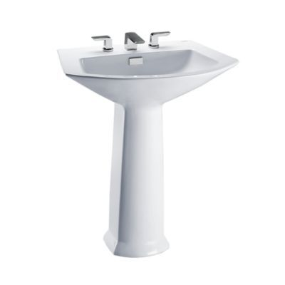 An Elegant And Bold Design This Pedestal Lavatory Features A Deeply Generous Basin And Rear Overflow Universal Height Sink Wall Mounted Bathroom Sinks Faucet