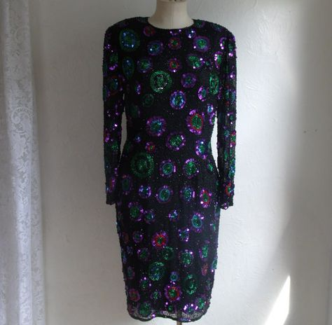 Leslie Fay 1960s 70s Shirt dress with foil silver dots