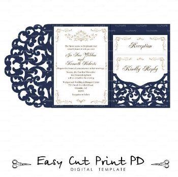 The 10 Best Cricut Wedding Projects The Diy Bride S Boutique Pocket Wedding Invitations Cricut Wedding Invitations Tri Fold Wedding Invitations