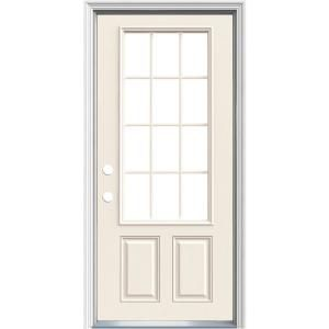 Jeld Wen 32 In X 80 In 12 Lite Primed Steel Prehung Right Hand Inswing Prehung Front Door With Brickmould Thdjw189200503 The Home Depot Front Door Farmhouse Front Door Jeld Wen