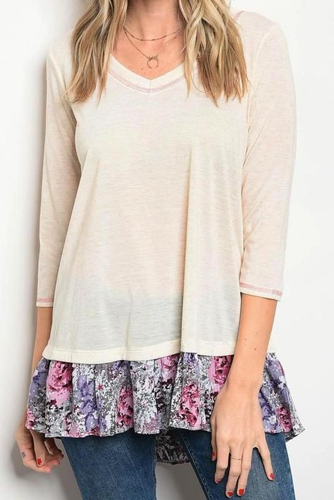 Oddi Womens Lace Up Floral Tunic Top