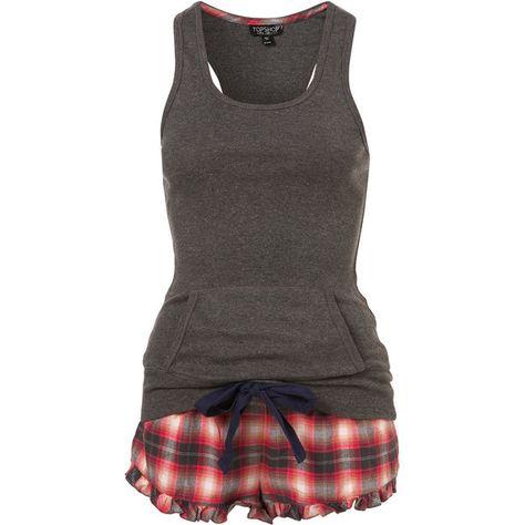 CHECK VEST AND SHORT ($40) ❤ liked on Polyvore featuring intimates, sleepwear, pajamas, pijamas, pyjamas, women, cotton sleepwear, cotton pajamas, cotton pjs and short pajamas