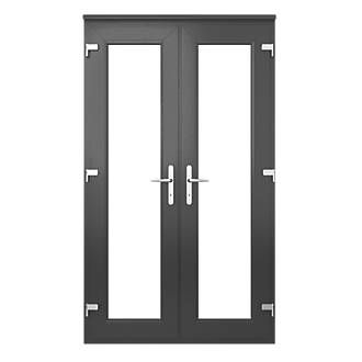 Euramax Deluxe Upvc French Doors Anthracite Grey 1490 X 2090mm Doors Screwfix Double Glazed French Doors Upvc French Doors French Doors Exterior